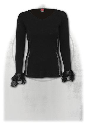 GOTHIC ELEGANCE - Fish-Net Side and Cuff V-Neck