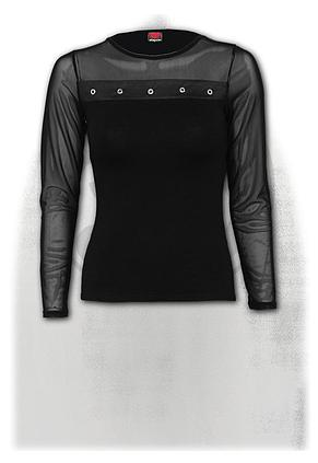 GOTHIC ROCK - Mesh Sleeve High Stud-Band Top Black