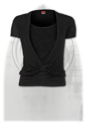 URBAN FASHION - 2in1 Gathered Knot Short Sleeve Top