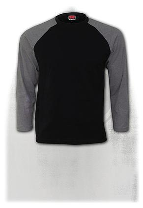 URBAN FASHION - Raglan Contrast Longsleeve Charcoal Black