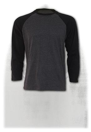 URBAN FASHION - Raglan Contrast Longsleeve Black Charcoal