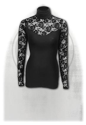 GOTHIC ELEGANCE - Fullsleeve Lace High Neck Corset Black