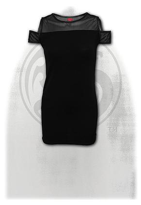 GOTHIC ELEGANCE - Drop Sleeve Piped Dress Black