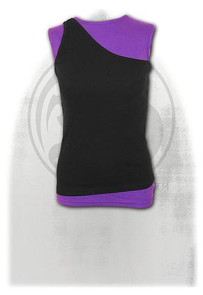 URBAN FASHION - 2in1 Slant Top Purple and Black