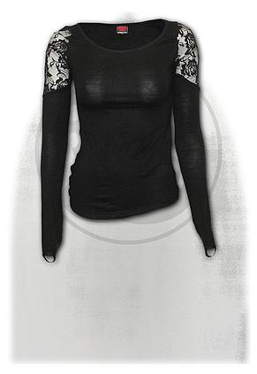 GOTHIC ELEGANCE - Shoulder Lace Top Black