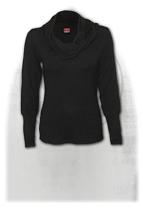 GOTHIC ELEGANCE - Cowl Neck Top Black