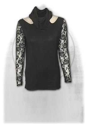GOTHIC ELEGANCE - Lace Sleeve Cowl Neck Top Black