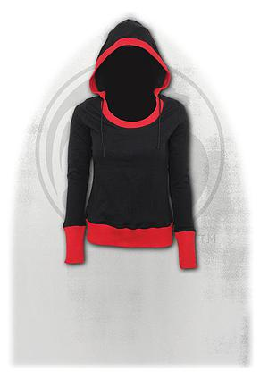 URBAN FASHION - Wide Rib Drape Hoody Red Black