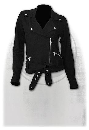 METAL STREETWEAR - Fleece Women Biker Jacket Black