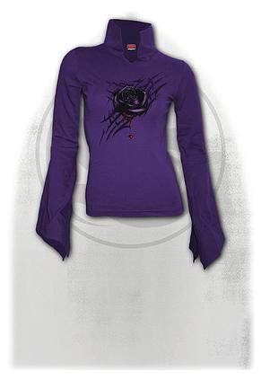 BLACK ROSE DEW - High Neck Goth Top Purple