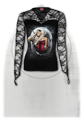 ANGEL OF DEATH SORROW - Lace Neck Goth Top Black