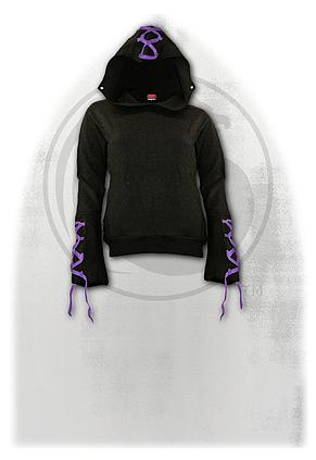 GOTHIC ELEGANCE - Purple Ribbon Gothic Hoody Black