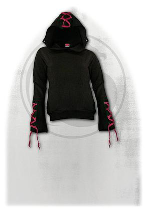 GOTHIC ELEGANCE - Red Ribbon Gothic Hoody Black