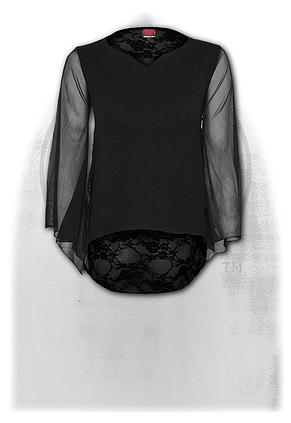GOTHIC ELEGANCE - Lace Back Goth Top Black