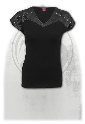 GOTHIC ROCK - Leather Look Studed Top Black